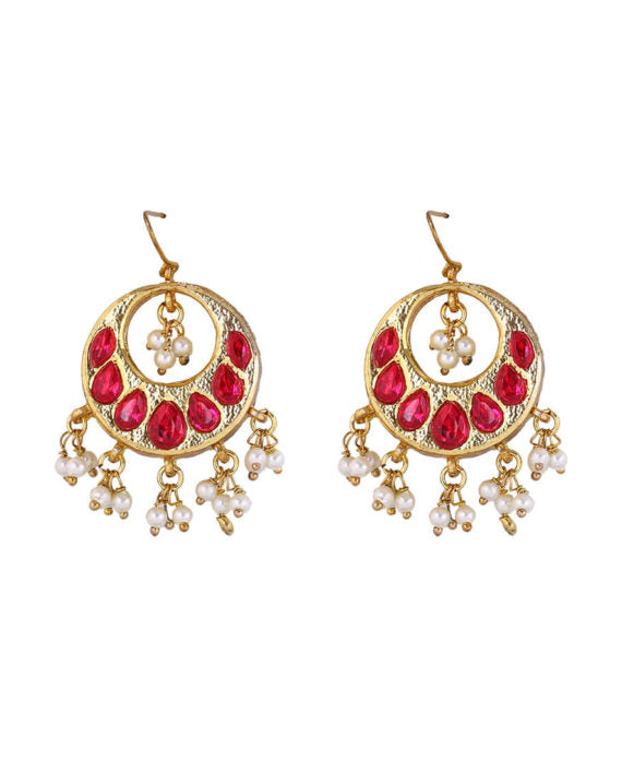 Earrings with red stones & pearls
