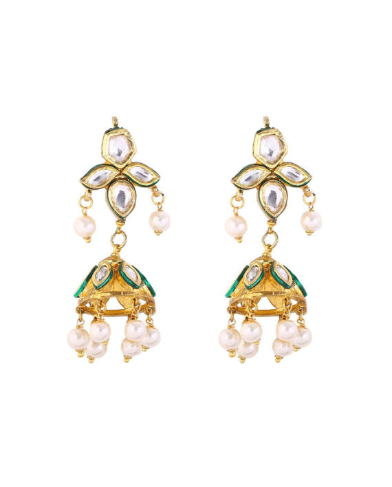 Silver Gold Plated Polki Jhumkis With Pearl Drops - bAnuDesigns
