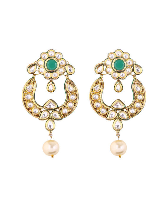Silver Gold Plated Polki Earrings With Pearl Drops - bAnuDesigns