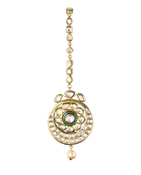 Amiya - Kundan Crescent Maang Tikka With A Pearl Drop