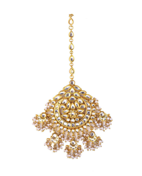 Silver Gold Plated Floral Maang Tikka With Pearl Drops
