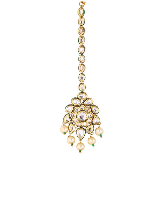 Silver Gold Plated Floral Maang Tikka With Pearl Drops - bAnuDesigns