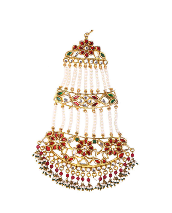 Red & Green Umrao Passa With Pearl Cluster Drops