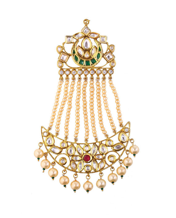 Silver Gold Plated Mughal Passa With Pearl Drops - bAnuDesigns