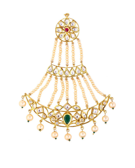Silver Gold Plated Passa With Kundan & White Pearls
