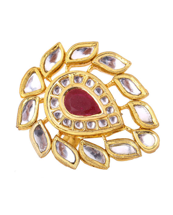 Silver Gold Plated Classic Tear Shaped Polki Ring - bAnuDesigns
