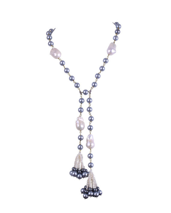 White & Grey Baroque Pearls Long Chain Necklace - bAnuDesigns