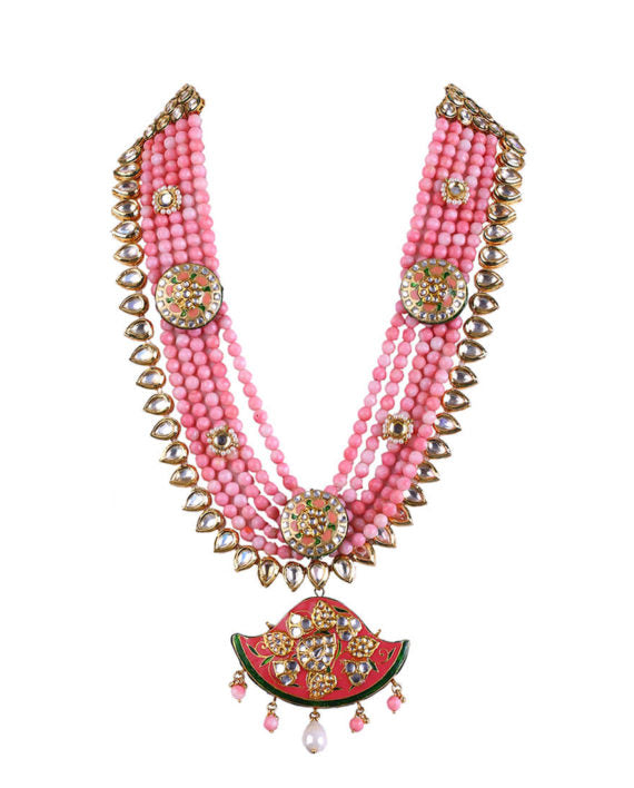 Dilara Meena Work Kundan Statement Necklace - bAnuDesigns