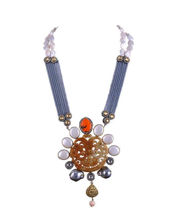 Statement Necklace With Dragon Dial Pendant & Polki Pieces - bAnuDesigns