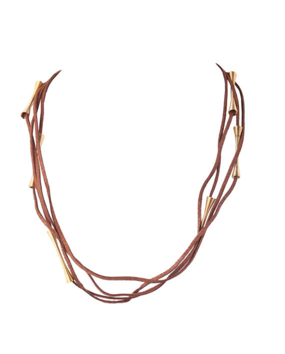 Multi-strings Brown Suede Necklace