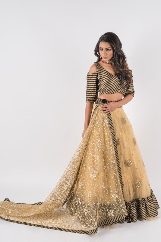 Heather Lengha - Cold Shoulder Blouse with Gold Rosette Sequin Embroidered Lengha