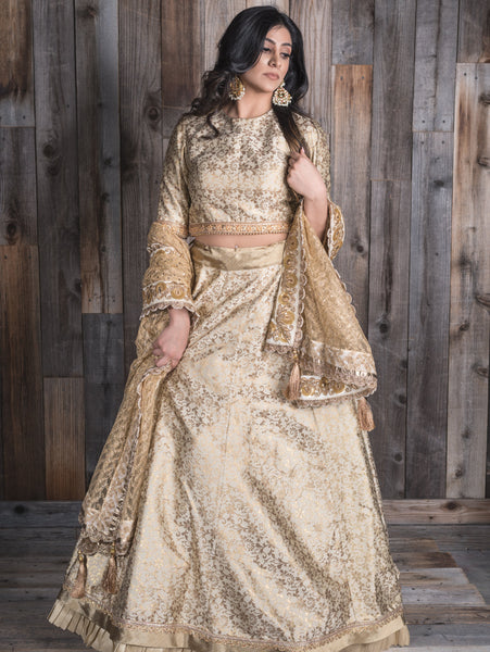 golden lengha bridesmaid