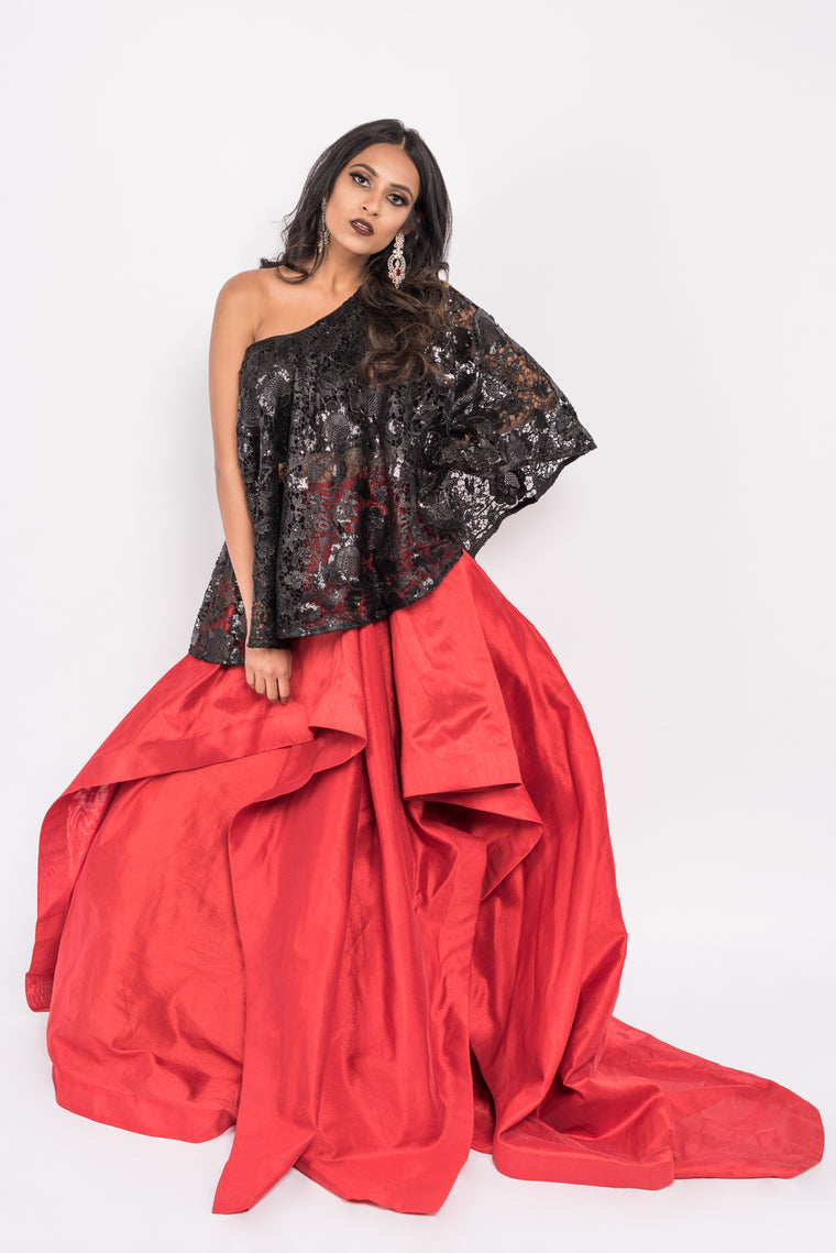 Savannah Lengha - Black Sequin One Shoulder w/Skirt