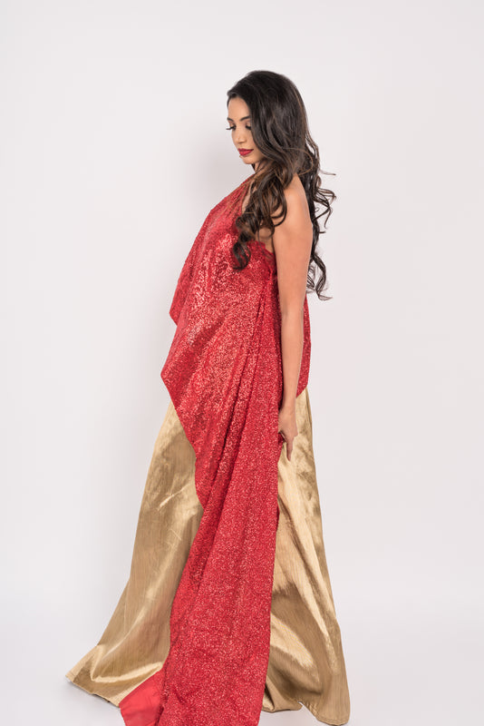 Lumier Cape Lengha - with Asymmetrical slit with sequin cape