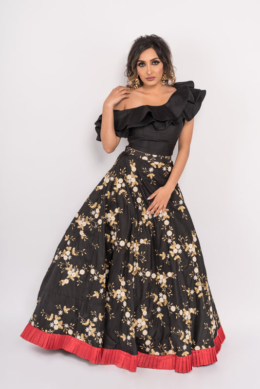 Eros Lengha - One shoulder crop top with black embroidered Lengha - bAnuDesigns