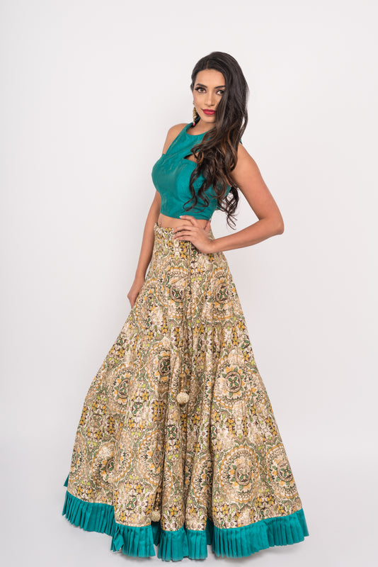Mastani Lengha - Printed Lengha with Crop Top