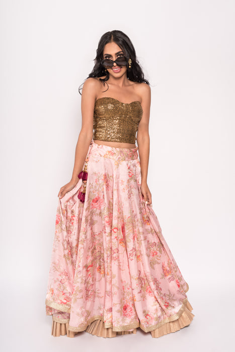 Paris Lengha - Flowy Lengha with gold off-shoulder crop top - bAnuDesigns