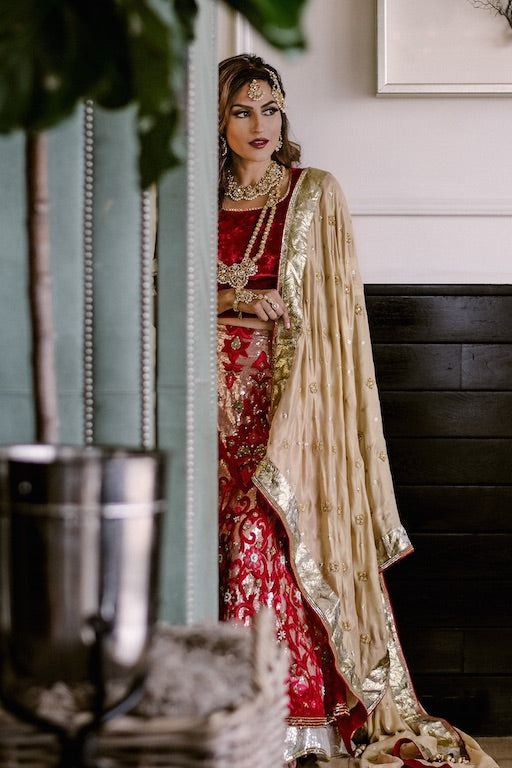 Kiara Velvet Indian Bridal Zardozi Lehenga - bAnuDesigns