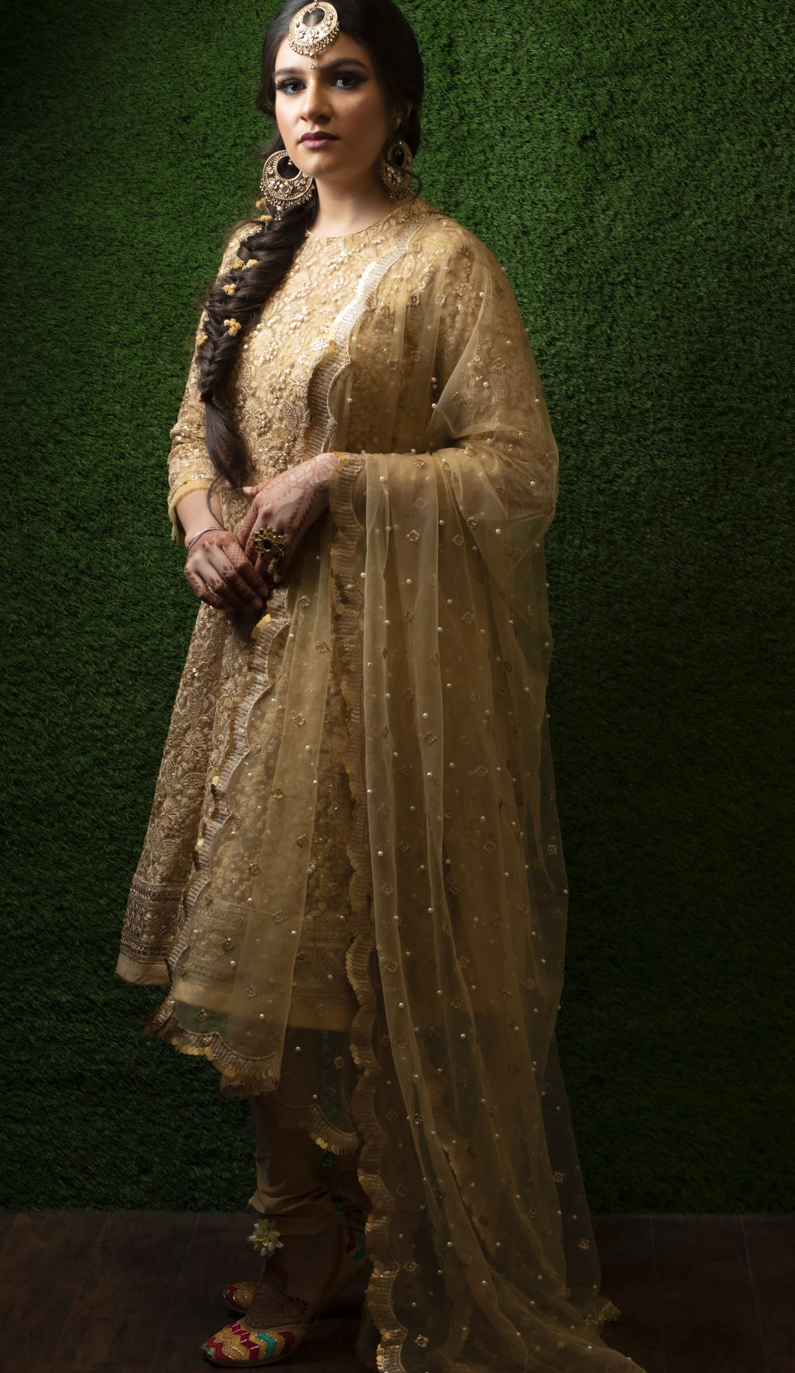 gold short anarkali