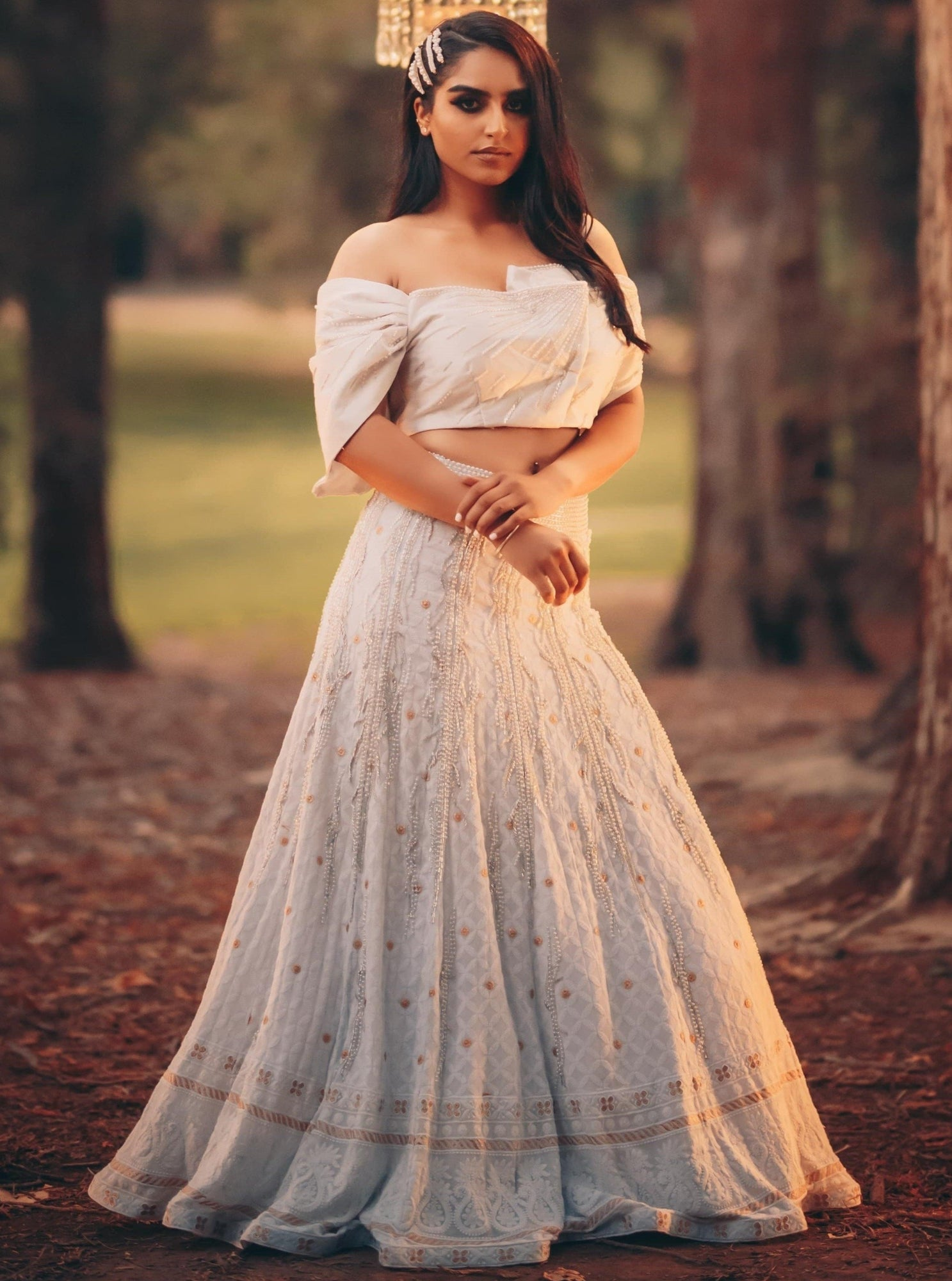 White Lehenga with Chikankari Handwork and Off-shoulder Blouse