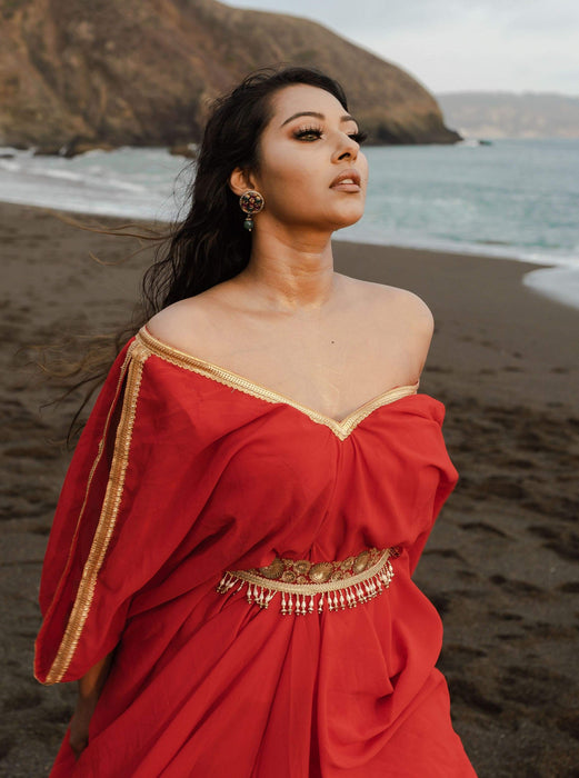 Red Georgette kaftan for beach in off-shoulder slit sleeves with embroidered adjustable belt