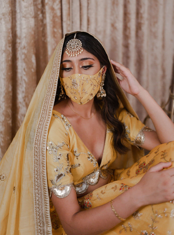 Bridal Silk Embroidery Face Mask - Bright Yellow Gold