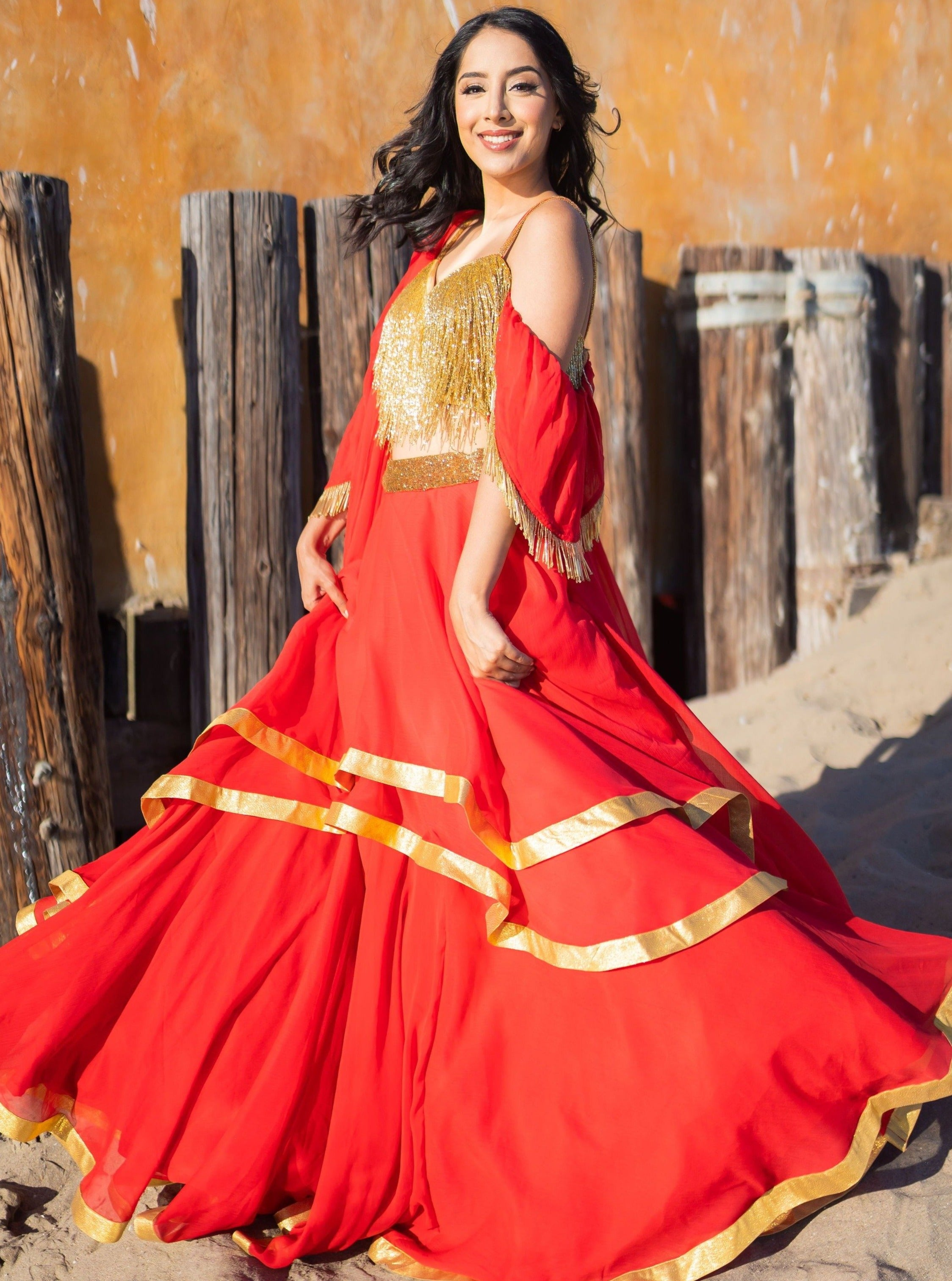 Layered Lehenga - Gold Fringe Crop Top with Chiffon Tiered Lengha