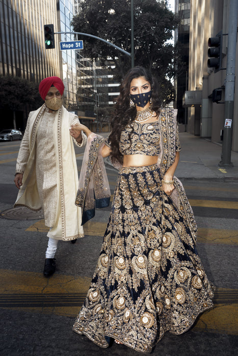 navy blue bridal lehenga