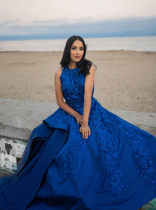Blue Embroidered Gown w/Oyster Long Trail - Roohi - bAnuDesigns