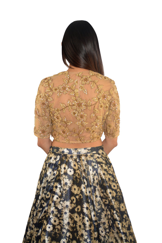 Gold Top w/Printed Skirt - Paisley - bAnuDesigns