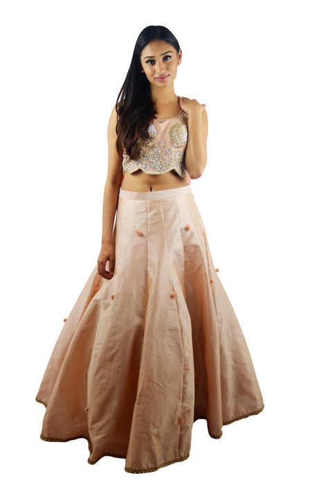 Baby Pink Sequin Crop Top w/Skirt - Zoya - bAnuDesigns
