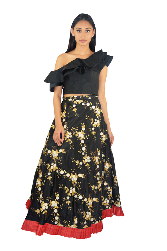 Eros Lengha - One shoulder crop top with black embroidered Lengha