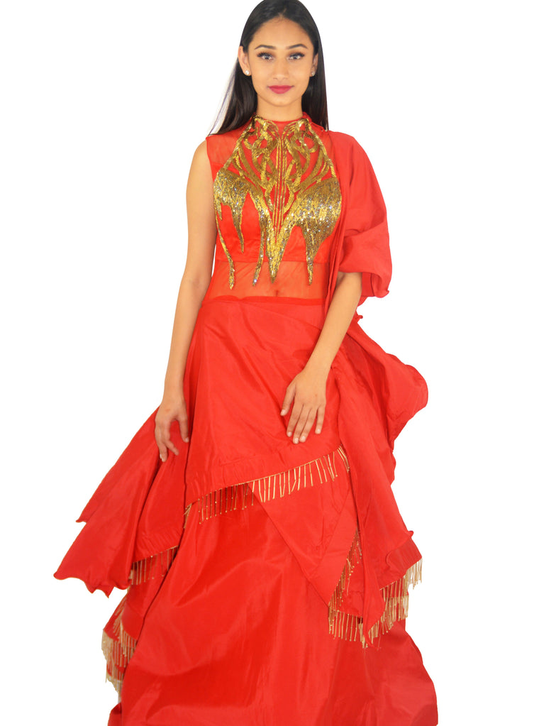 Crimson Red Cutdana and Bugle Beads Embroidered Lehenga Gown - Ittar