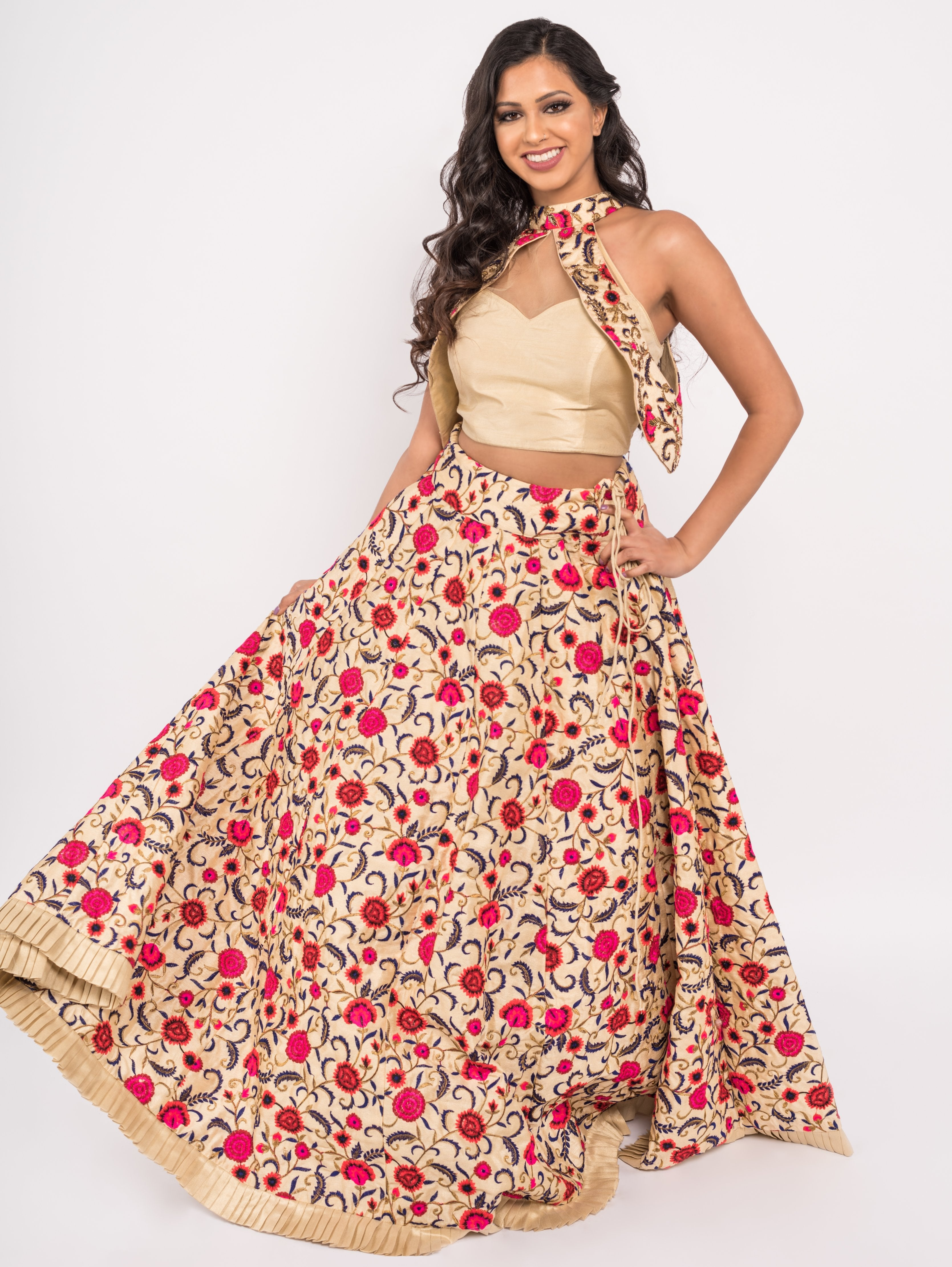 Dahlia Lengha - Fully Emboridered Skirt w/Crop Top