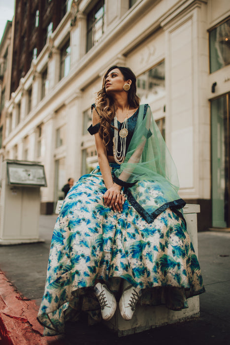 Pechani Blue Floral Skirt Lehnga