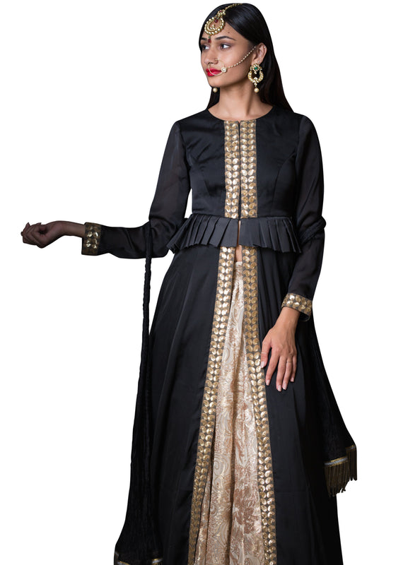 Jahan Lengha - Black Jacket Gold Sequin Lengha - bAnuDesigns