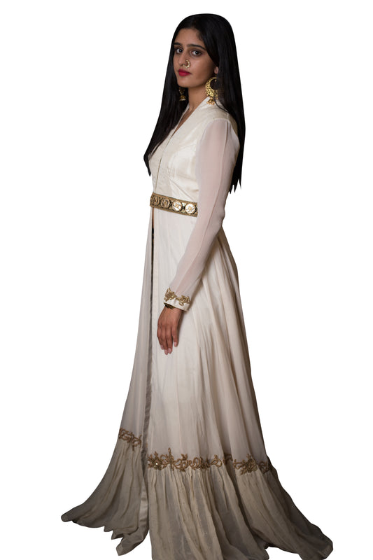Ivory Anarkali Jacket w/Brocade Pants - Sanah - bAnuDesigns