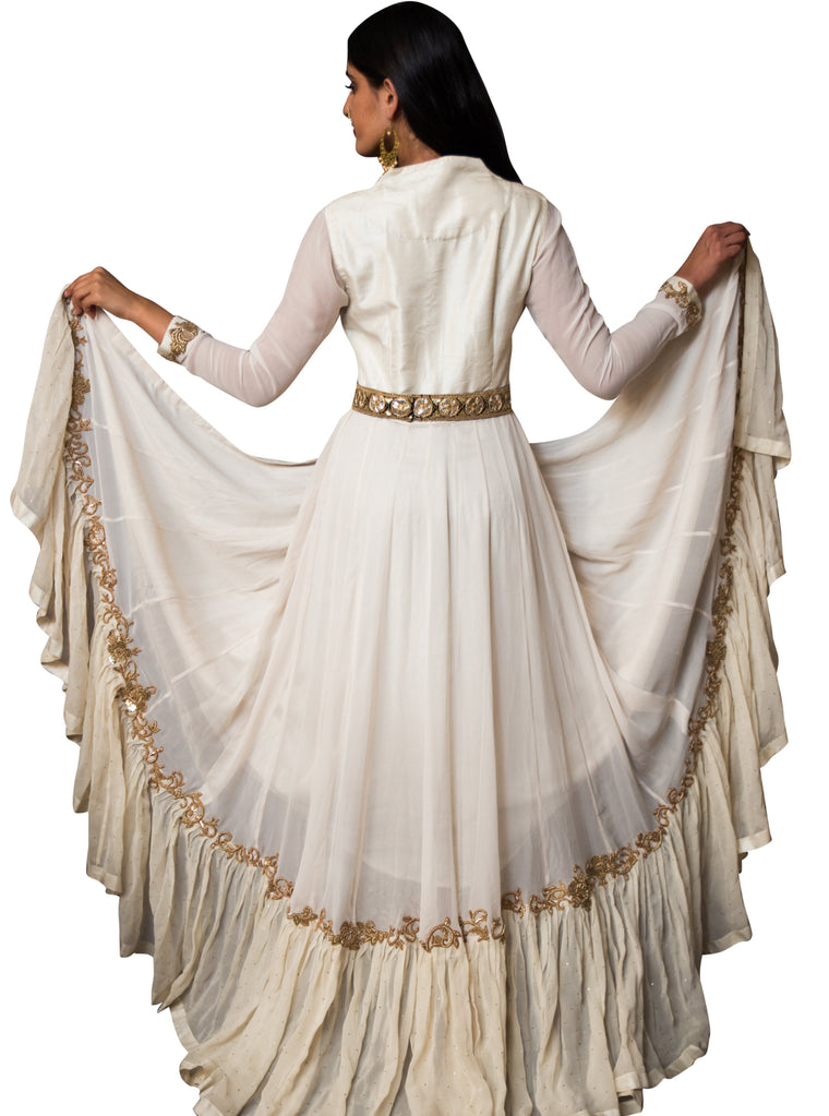 Ivory Anarkali Jacket w/Brocade Pants - Sanah