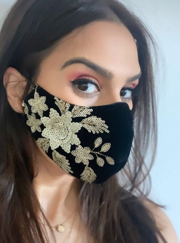 Velvet Face Mask - Black Designer Face Mask