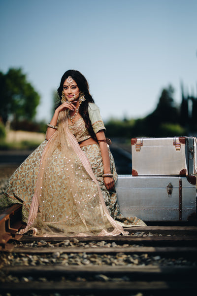 Mint green bridal lengha