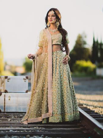Olive Green Bridal Lehenga - Indian Bridal Wear