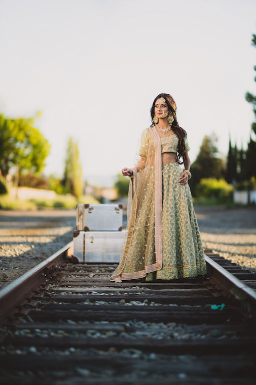 Olive Green Silk Lehenga - bAnuDesigns
