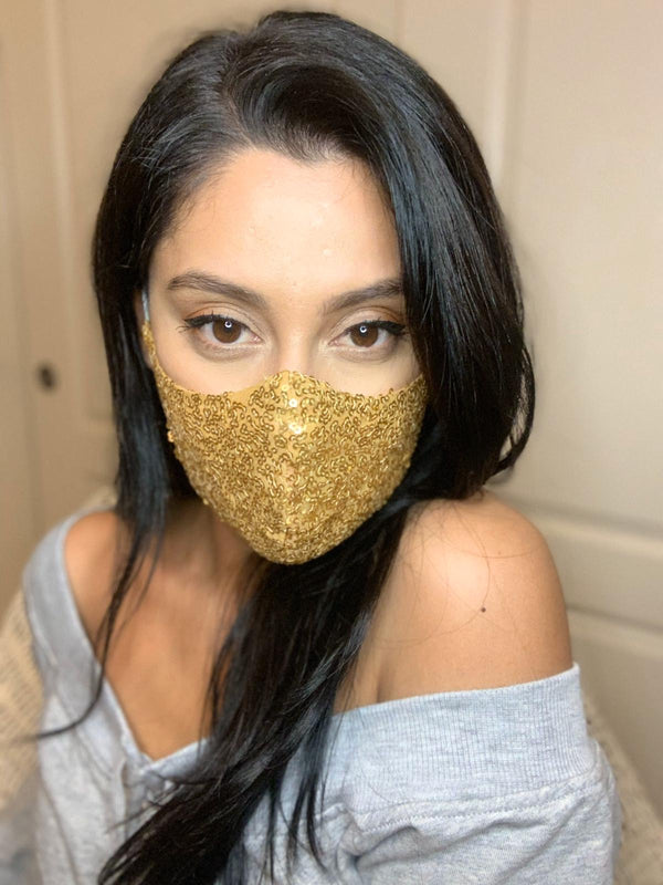 Sequin Face Mask - Gold - bAnuDesigns
