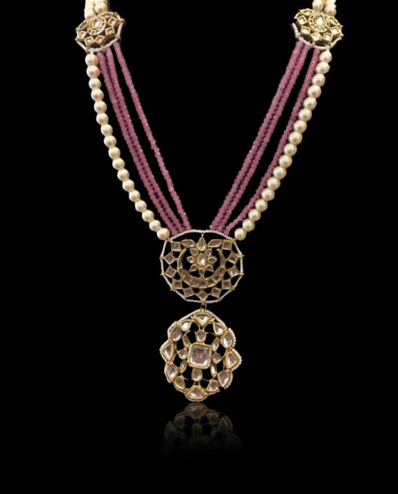 Kundan with White & Pink Pearls & Necklace - bAnuDesigns