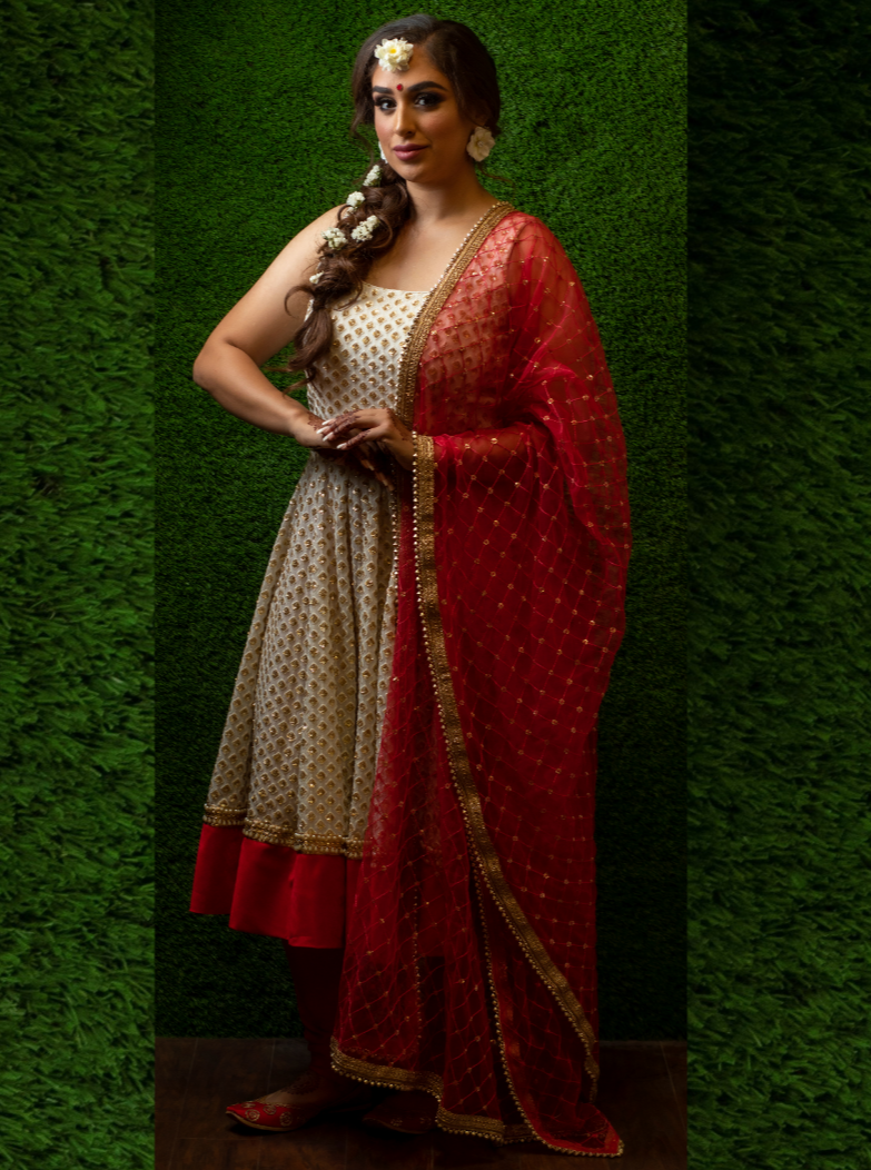 Short Knee-length Anarkali in Red & White