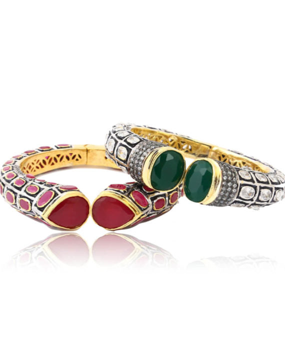 Silver Gold Plated Traditional Bangles With Red & Green Stones
