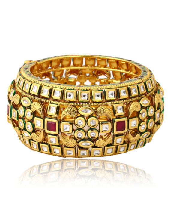 Silver Gold Plated Polki & Kundan Work Bangle - bAnuDesigns
