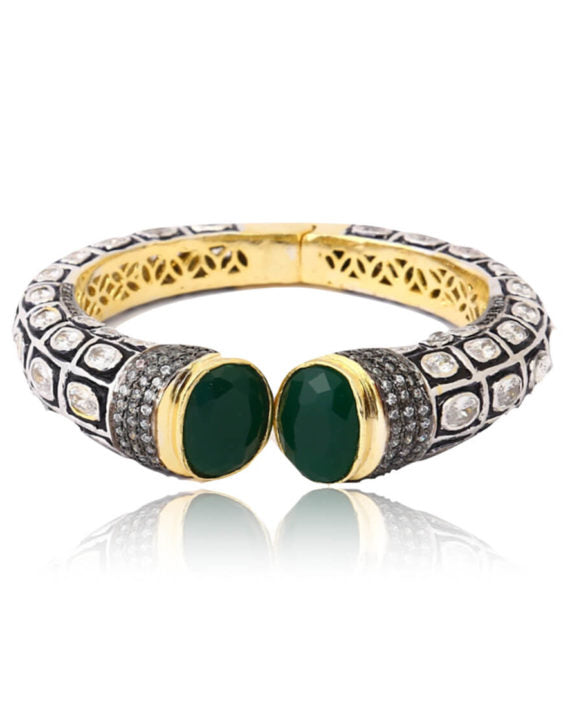 Silver Gold Plated Traditional Bangle With Green Stones