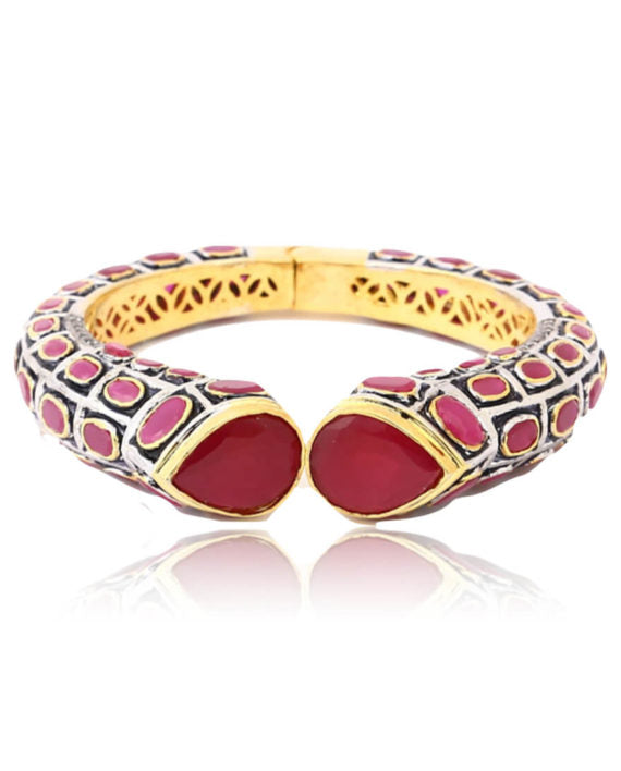 Silver Gold Plated Traditional Bangle With Red Stones - bAnuDesigns