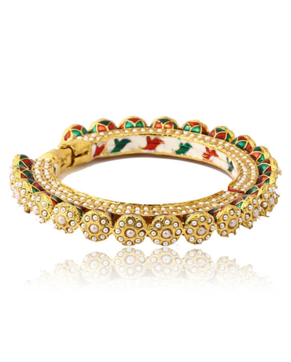 Silver Gold Plated Bangle With Pearl Work